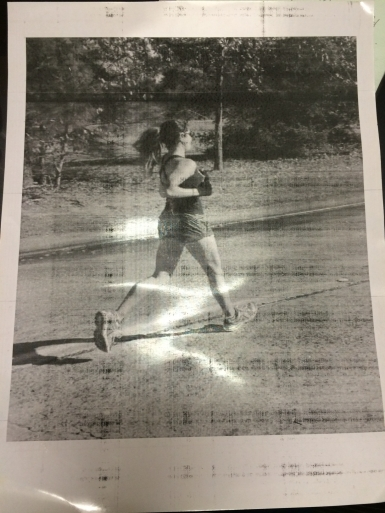 A picture of me that was taken as I was running the marathon, and given to me. I didn't realize it was being taken.